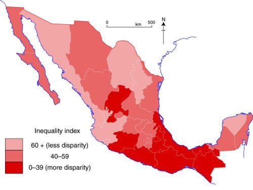 map of gender inequality in Mexico