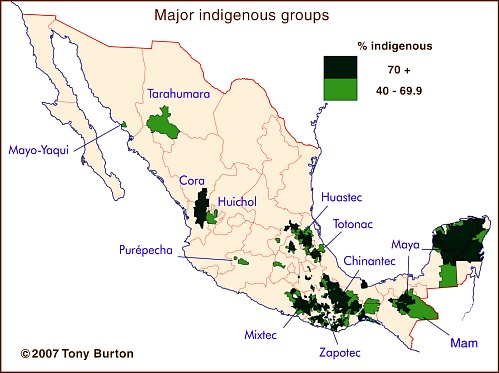 The geography of languages in Mexico Spanish and 62 indigenous