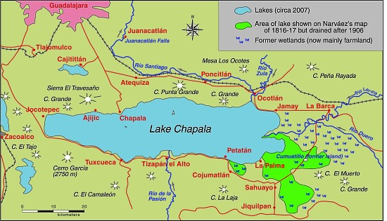 Lake Chapala, showing area drained at start of 20th century. Map: Tony Burton. All rights reserved.