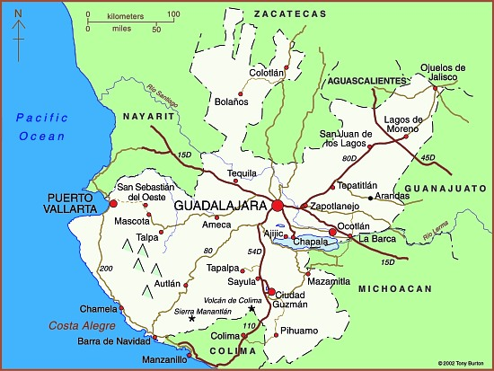 Map of the state of Jalisco including Guadalajara Puerto Vallarta