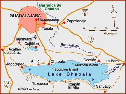 Map of Lake Chapala, Jalisco, Mexico