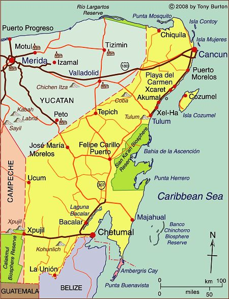 Map Of The State Of Quintana Roo With Cancun Cozumel And Tulum