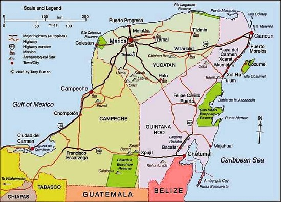 Map of Yucatán Peninsula including Campeche, Mérida, Cancún, Riviera Cancun Riviera Maya Map on