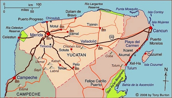 Map Of Yucatan State Including Chichen Itza Progreso Uzmal And