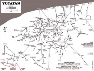Map of Yucatan's railways