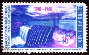 Postage stamp depicting dam and reservoir