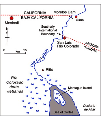 Map of the Colorado delta