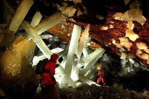 Massive crystals in Naica Cave, Chihuahua