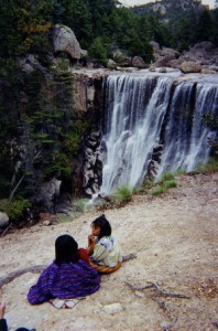 Tarahumar woman and child, by waterfall in the Copper Canyon