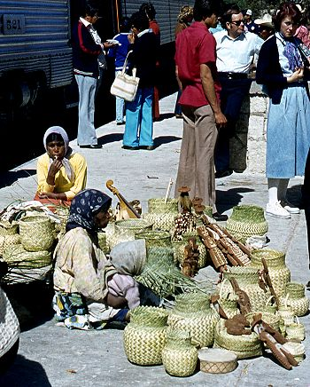 Tarahumara Indians wait for a sale at Divisadero, the station on the rim