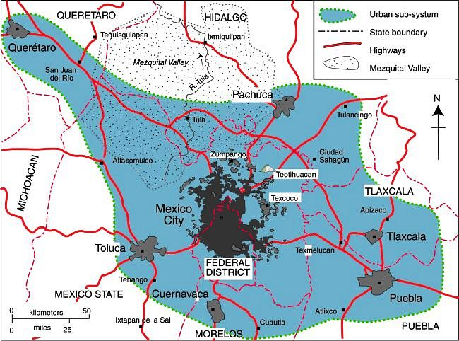 Map of Mexico City urban system