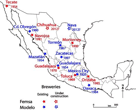 The location of Femsa and Modelo breweries in Mexico