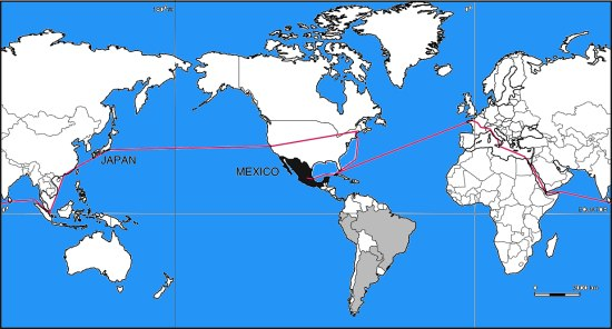 Route taken by Mexico's first international scientific expedition, 1874-5