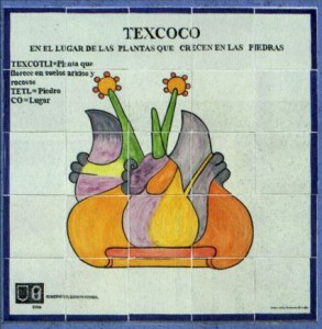 Tile mosaic depicting glyph of Texcoco