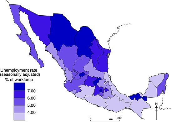 Unemployment in Mexico, second quarter of 2010.