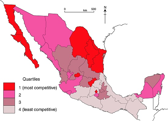 Map of competitiveness in Mexico, 2008
