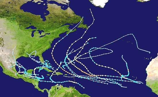 Atlantic Hurricane tracks, 2010