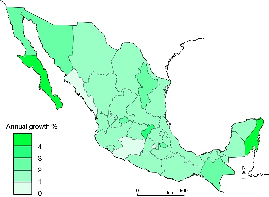 Annual % population change in Mexico, 2000-2010