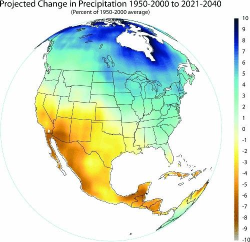 Precipitation change in Mexico, 1950-2000 and 2021-2040