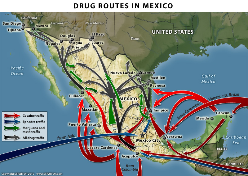 Drug routes through Mexico