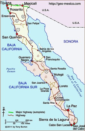 Solar concentrating desalination and desal info Baja-california-peninsula-gm
