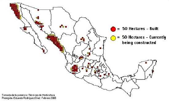 Protected horticultural areas in Mexico