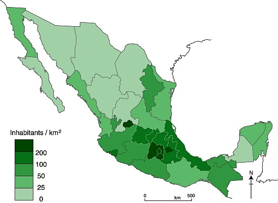 population density GeoMexico the geography of Mexico