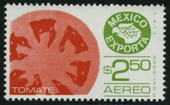 Tomatoes on a stamp
