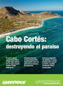 Cover of Greenpeace's position paper on Cabo Cortés