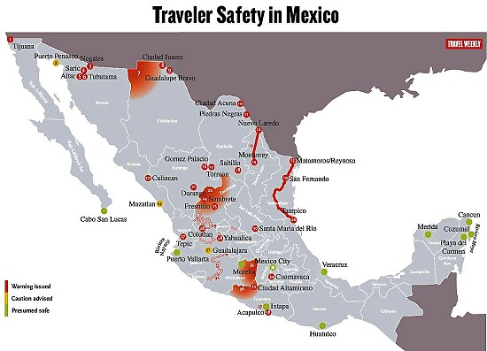 Which parts of mexico are currently subject to us travel advisories map credit travel weekly travelweeklymexicomap gumiabroncs Images