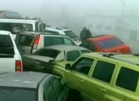 50-vehicle pile-up in fog, Saltillo, January 2011