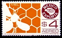 Postage stamp depicting honey exports