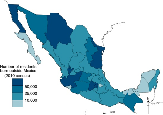 Map of foreign-born residents of Mexico in 2010