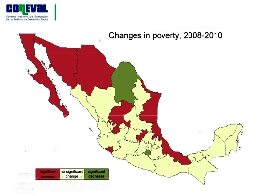 map of changes in poverty in Mexico, 2008-2010