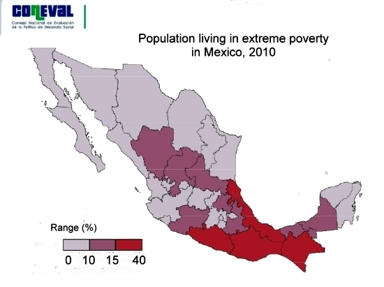 Map of extreme poverty in Mexico 2010