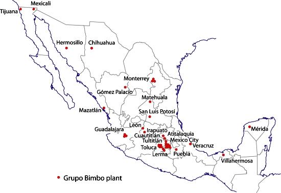 Grupo Bimbo plants, 2011