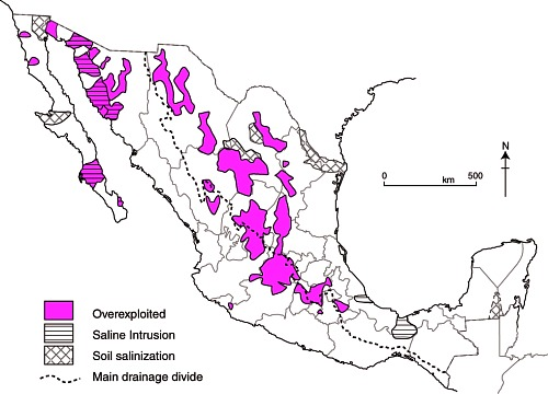 Map of overexploited aquifers and areas of salinization