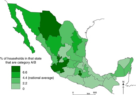 Distribution of highest socio-economic status households in Mexico.