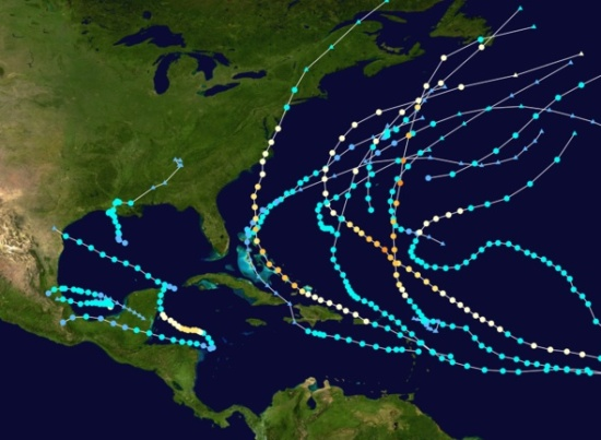 Tracks of Atlantic Hurricanes, 2011