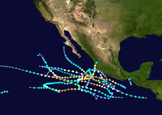 Tracks of Pacific Hurricanes, 2011
