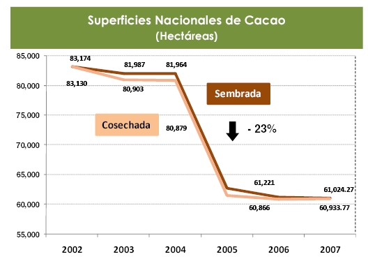 The annual area under cacao in Mexico