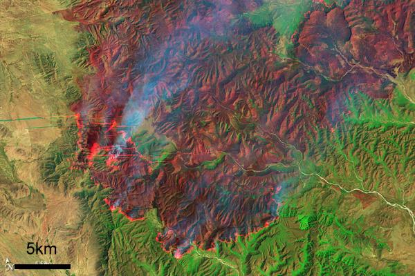 Coahuila wildfire, April 9, 2011 (Earth Observatory, Landsat-5)