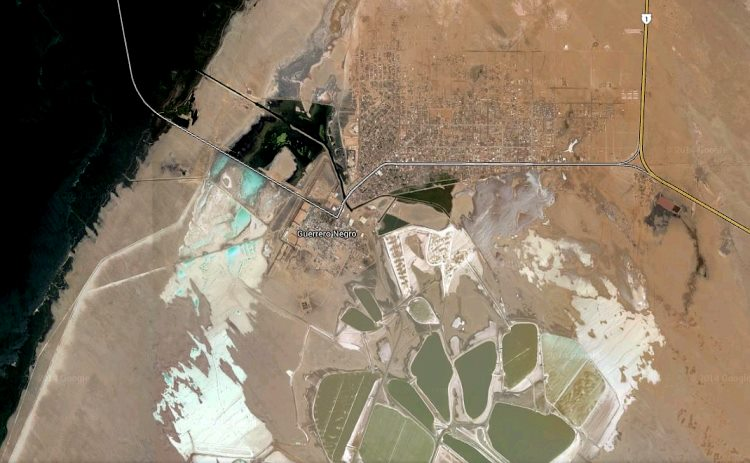 Satellite image of part of Guerrero Negro saltworks