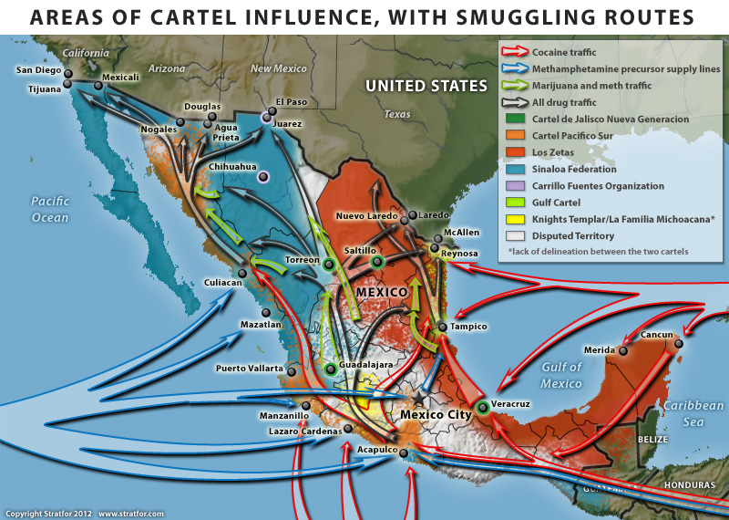 Cartel areas and drug routes in Mexico