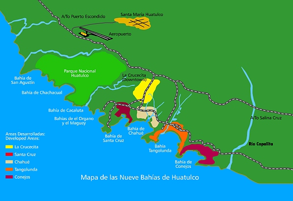 Sketch map of Huatulco (not to scale)