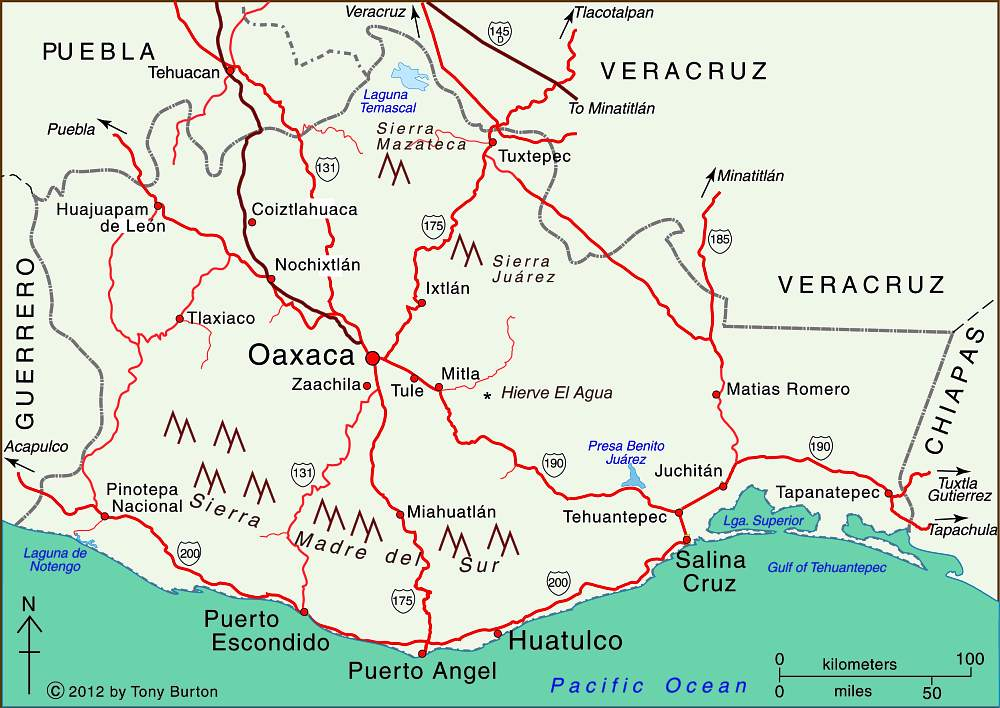 Map of Oaxaca state, Mexico. Copyright Tony Burton;
