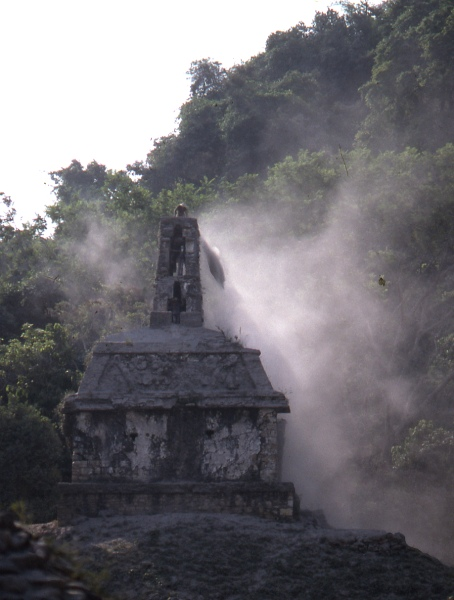 Sweeping ash off Palenque following the eruption of El Chichón