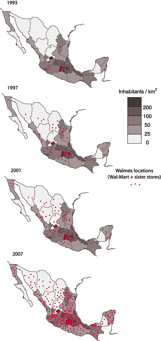 Wal-Mart's expansion across Mexico, 1993-2007