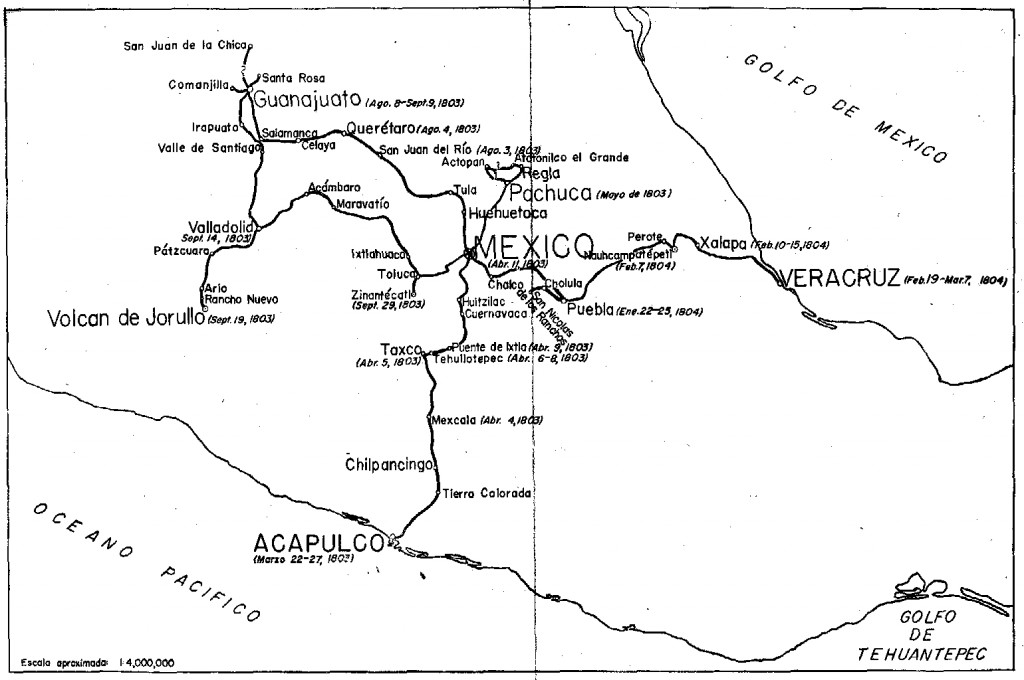 Humboldt's route in Mexico