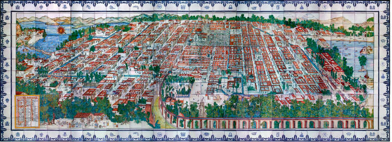 Panoramic view of Mexico City during colonial times